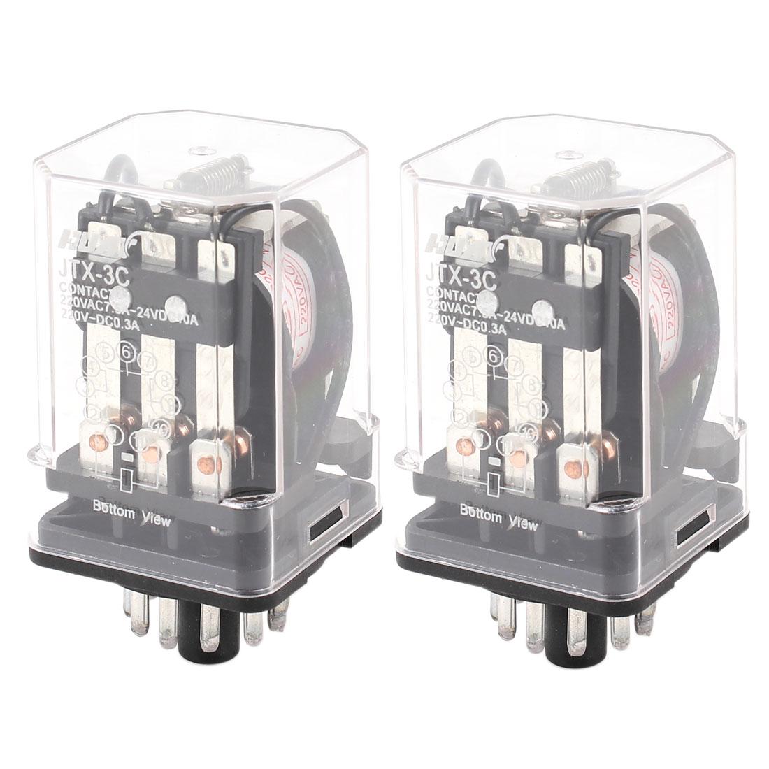 JTX-3C AC 220V Coil General Purpose Power Relay 11 Pins 3PDT 3P2T 2 Pcs