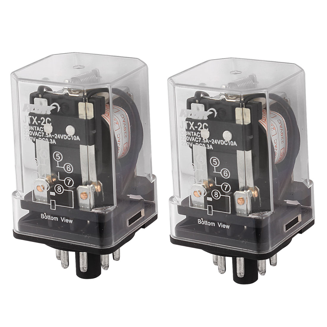JTX-2C AC 220V Coil General Purpose Power Relay 8 Pins DPDT 2P2T 2 Pcs