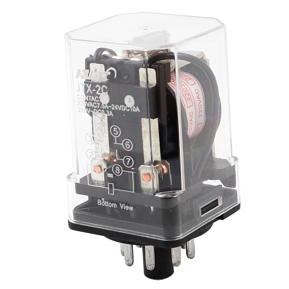 AC 220V Coil Electromagnetic Power Relay 8 Round Pins DPDT JTX-2C
