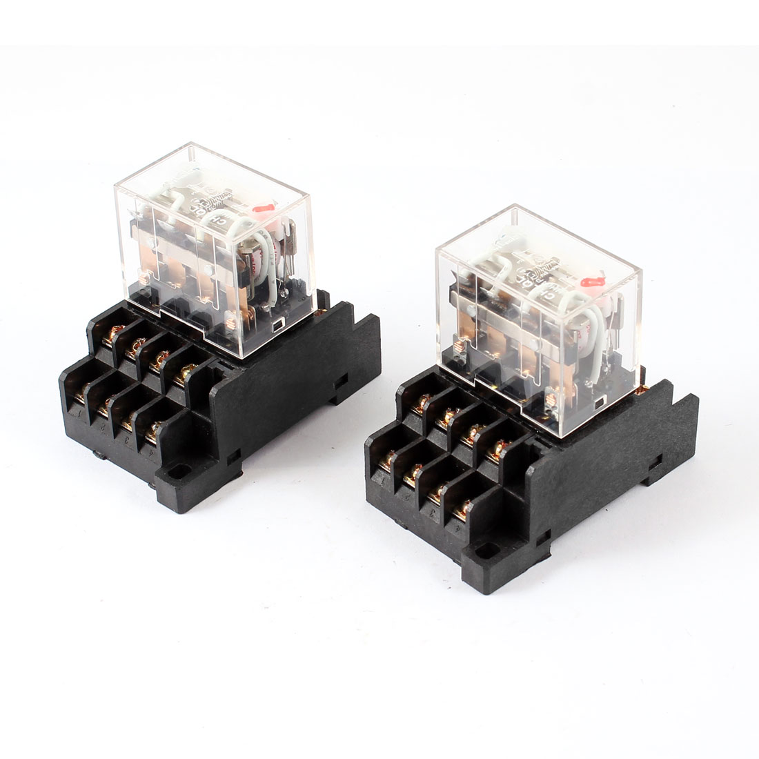 AC 200/240V Coil 4PDT 14 Pin Red LED General Purpose Power Relay 2 Pcs w Socket