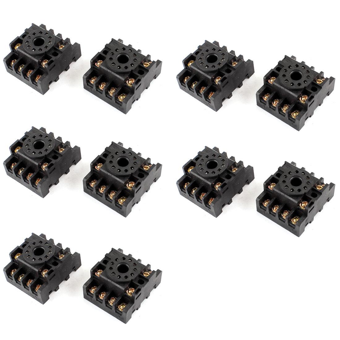 10pcs PF113A 11-Pin 11P DIN Rail Mount Relay Socket Base for JTX-3C