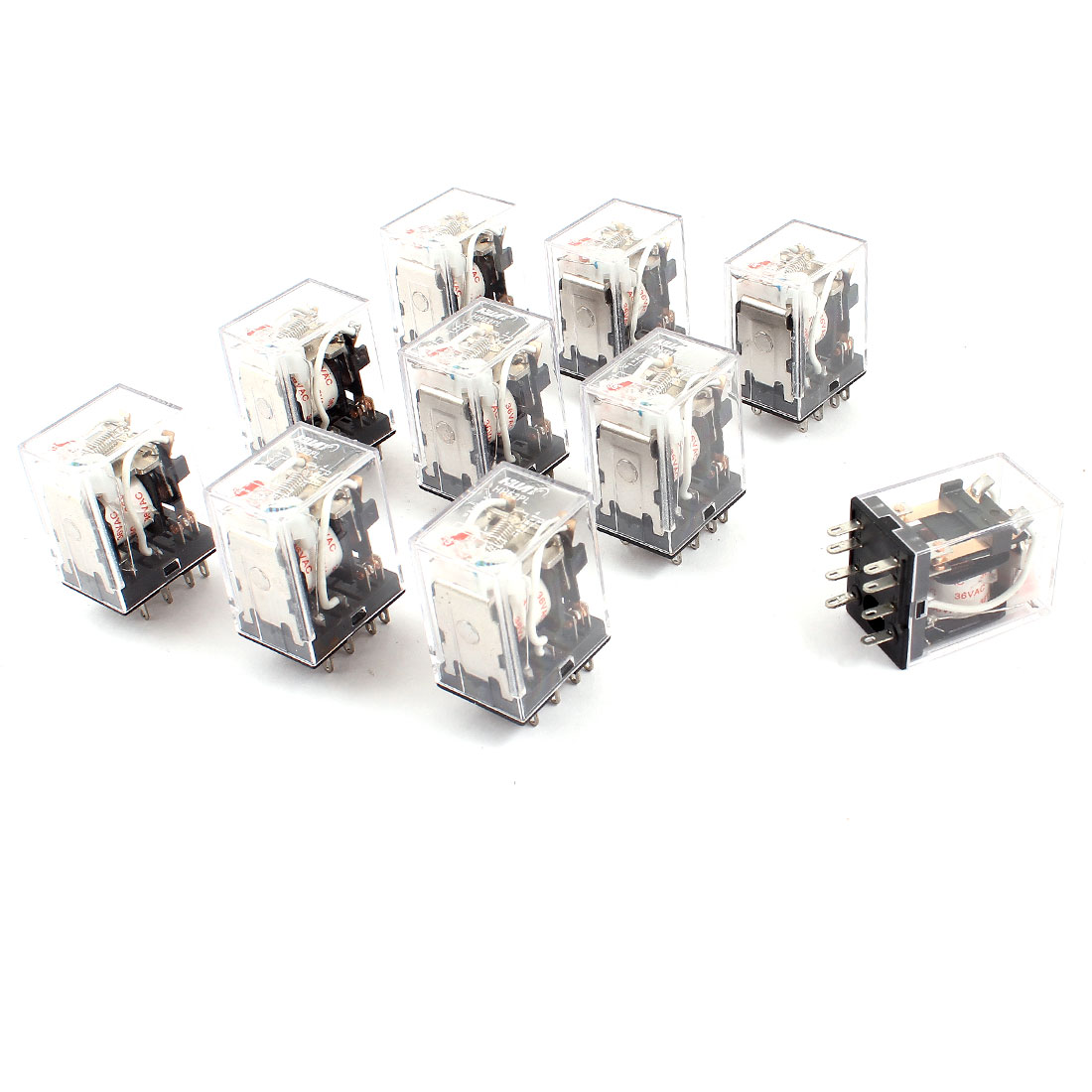 AC 36V Coil DPDT 8Pin Red LED Lamp General Purpose Power Relay 10 Pieces