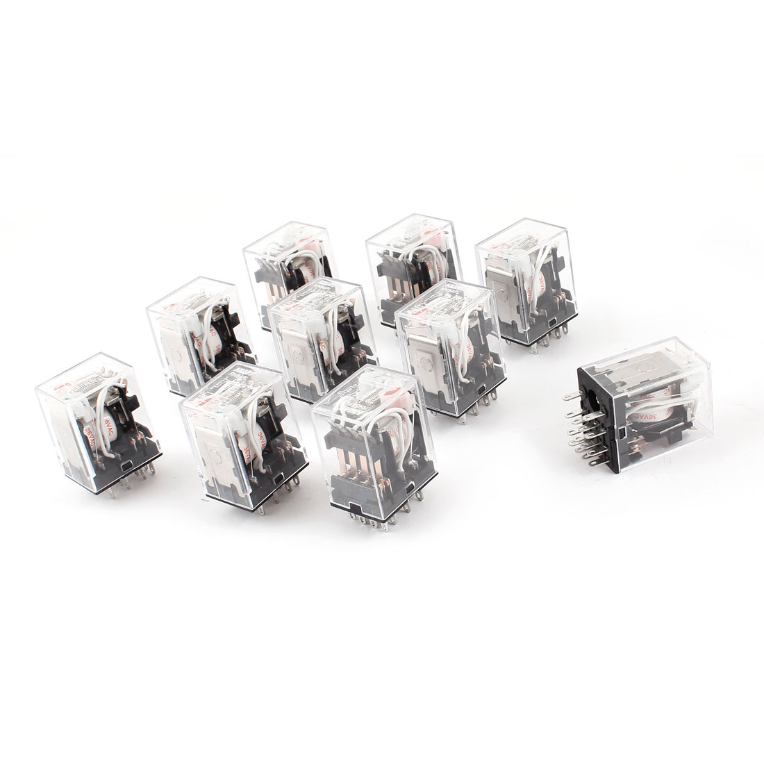 HH54PL AC 36V Coil 14-Pin 4PDT Red LED Indicator Light Power Relay 10 Pcs