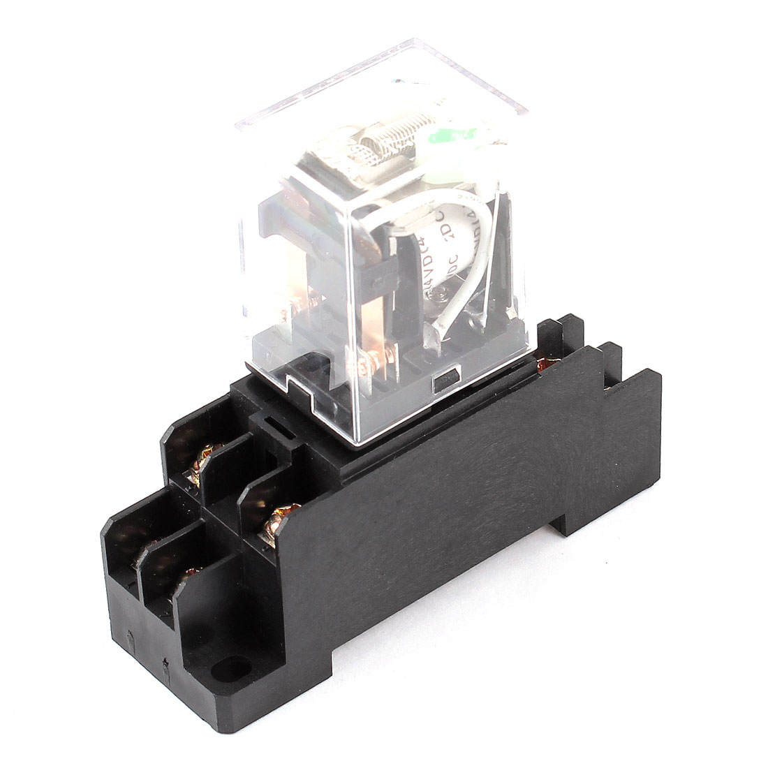 DC 24V Coil 35mm DIN Rail Mount DPDT Plug-in Socket Power Relay HH52PL