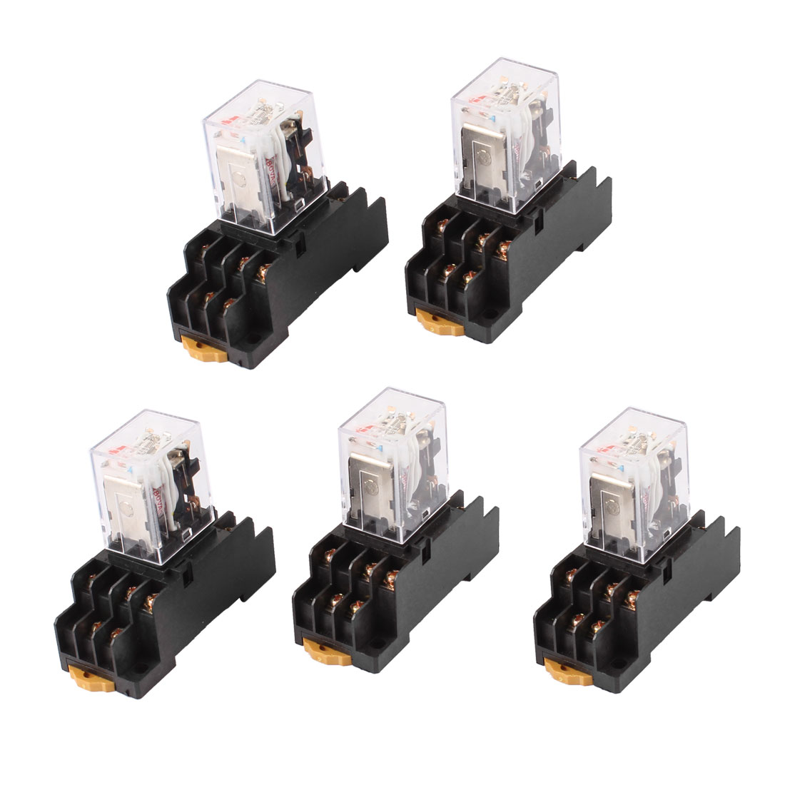 AC 380V Coil Red Indicator Light 3PDT 11 Pins Power Relay 5 Pcs + Socket Base