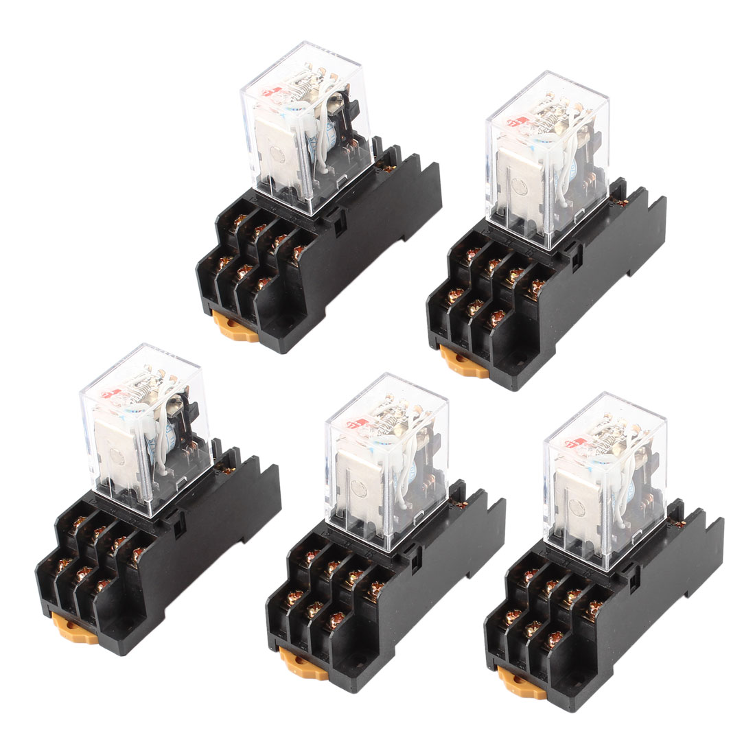 AC 110/120V Coil 4PDT 14 Pin Red LED General Purpose Power Relay 5 Pcs w Socket