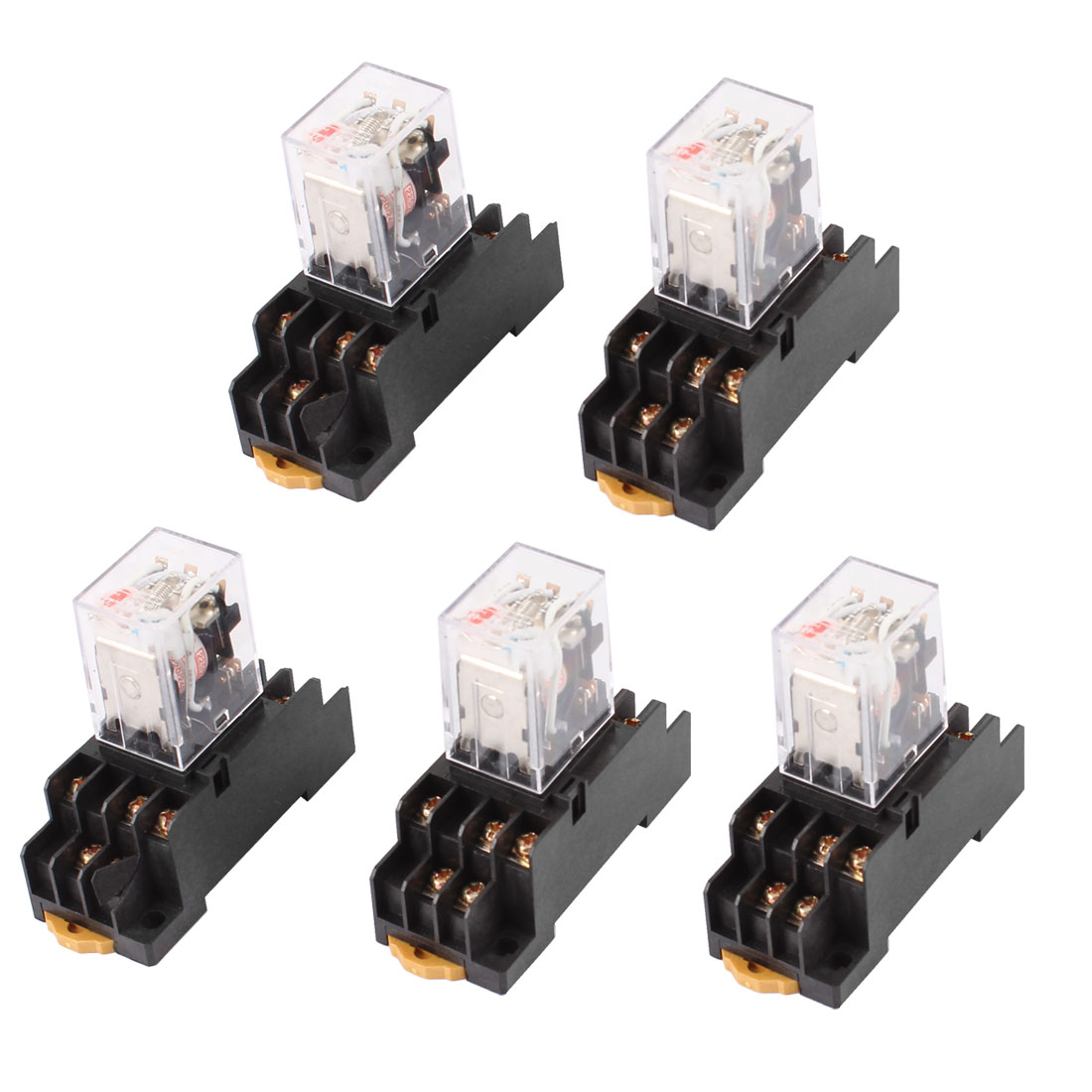 AC 220/240V Coil Red Indicator Lamp 3PDT 11 Pins Power Relay 5 Pcs + Socket Base