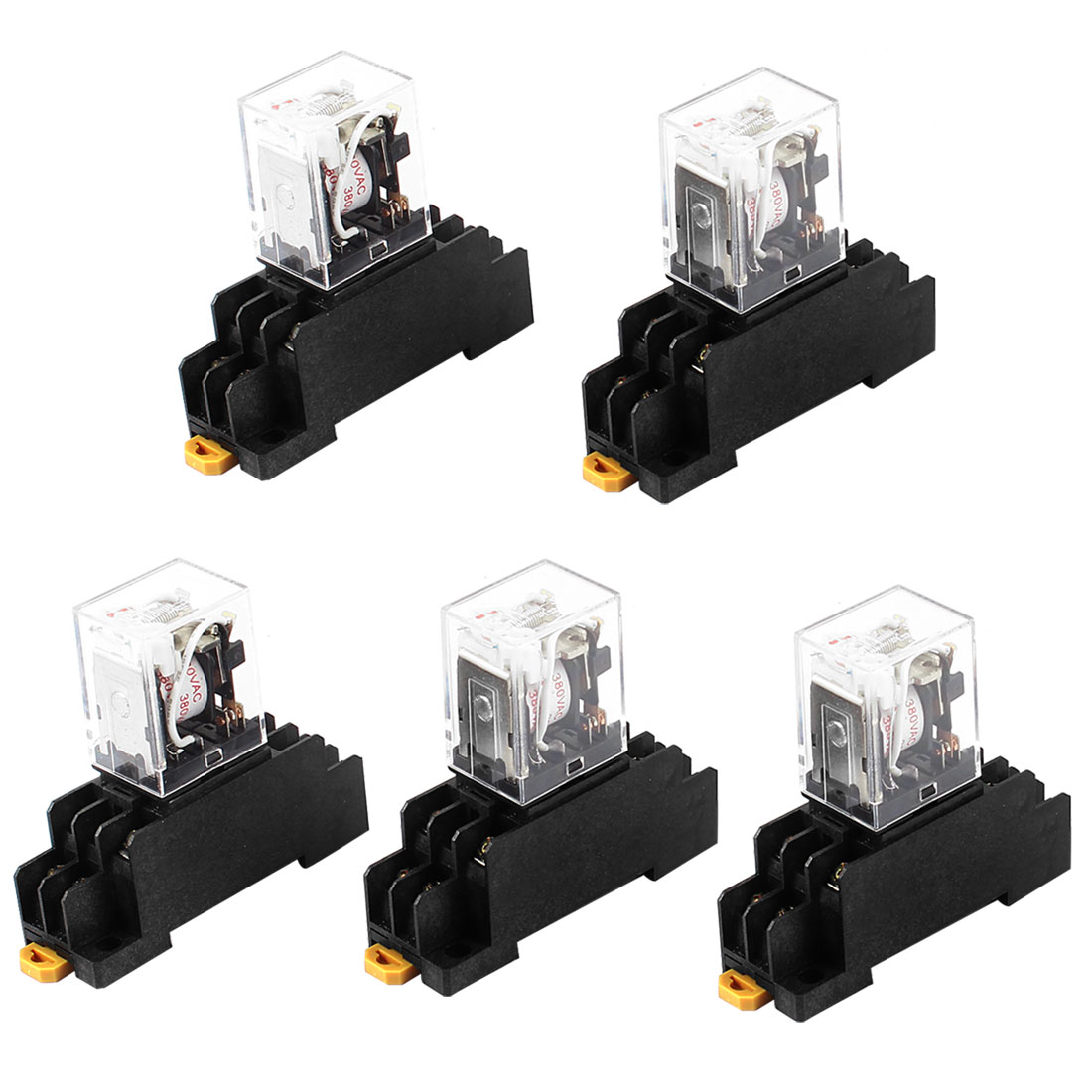 HH52PL AC 380V Coil DPDT 8Pin 35mm DIN Rail Electromagnetic Power Relay 5 Pcs