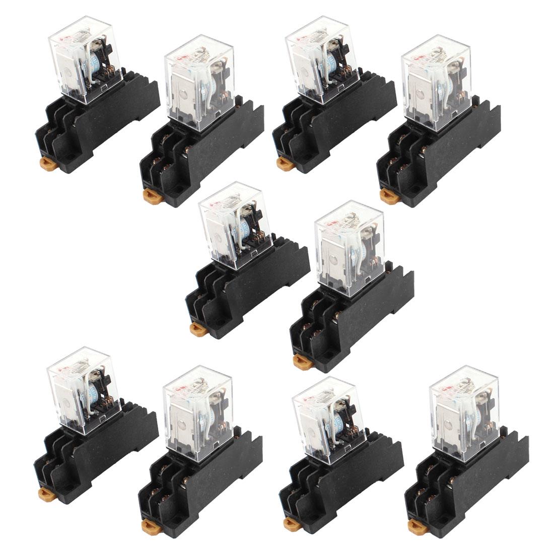 AC 110/120V Coil Red Indicator Light DPDT 8 Pins Power Relay + Socket Base
