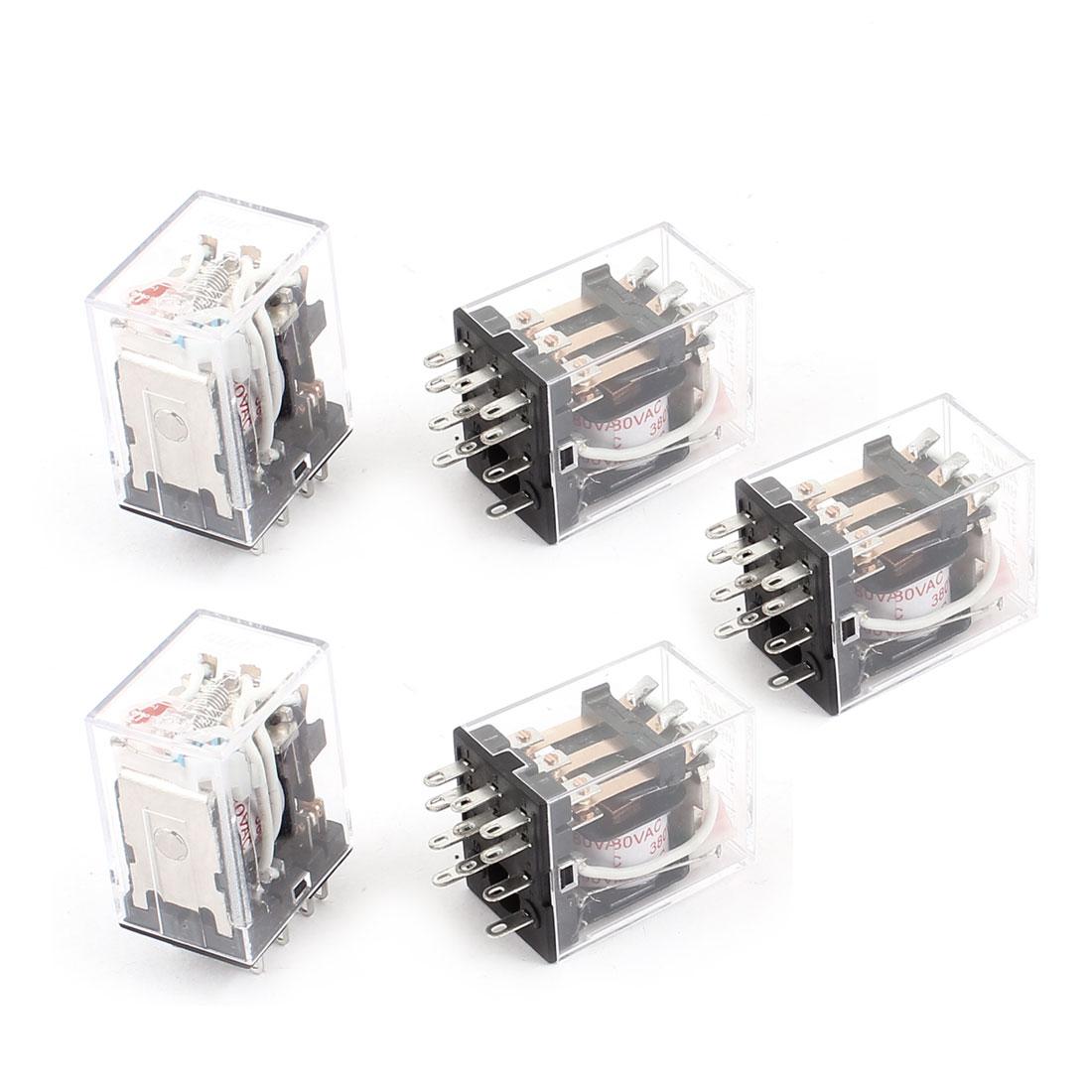 HH53PL AC 380V Coil 11-Pin 3PDT Red LED Light Electromagnetic Relay 5 Pcs