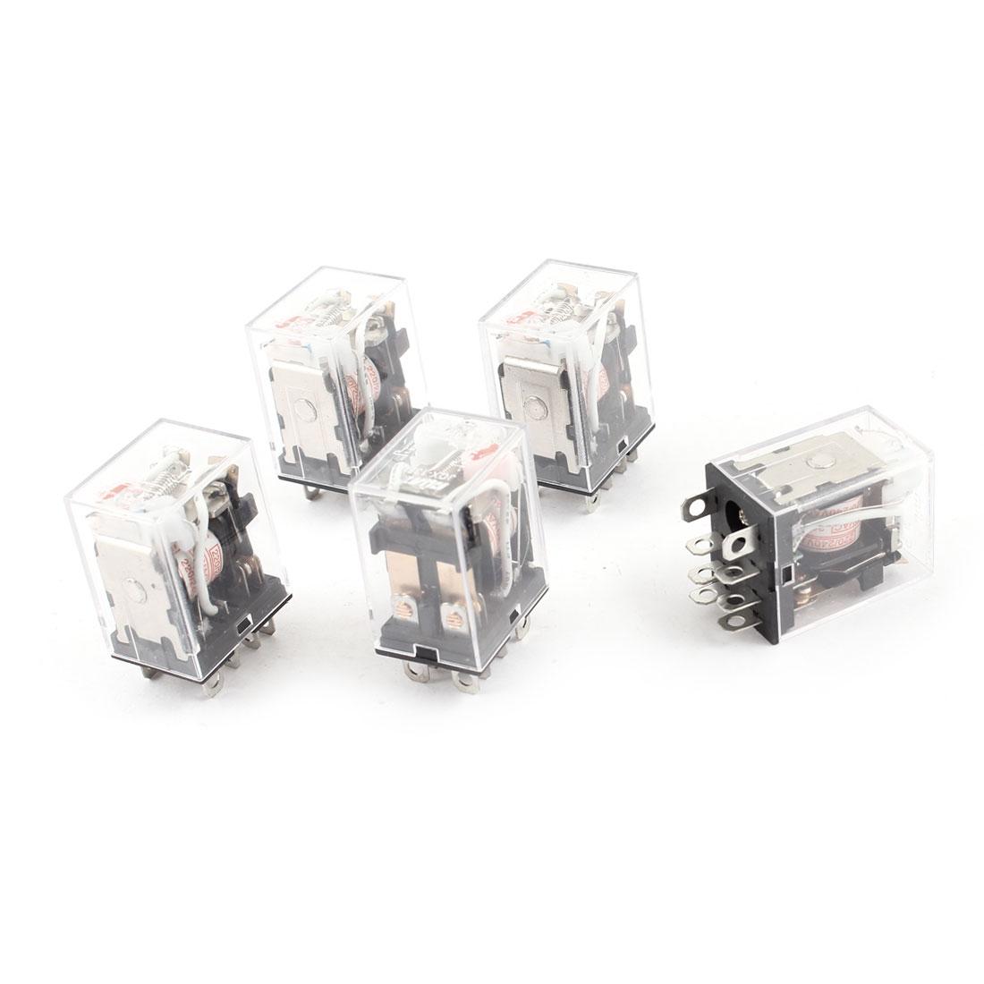 JQX-13FL AC 220/240V Coil 8-Pin DPDT Red LED Light Electromagnetic Relay 5 Pcs