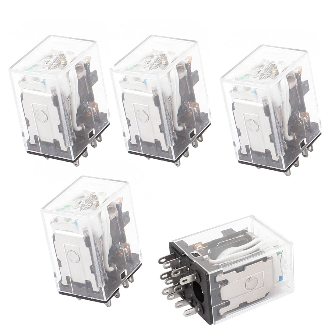 HH53PL DC 12V Coil 11 Pins 3PDT Green LED Indicator Lamp Power Relay 5 Pcs