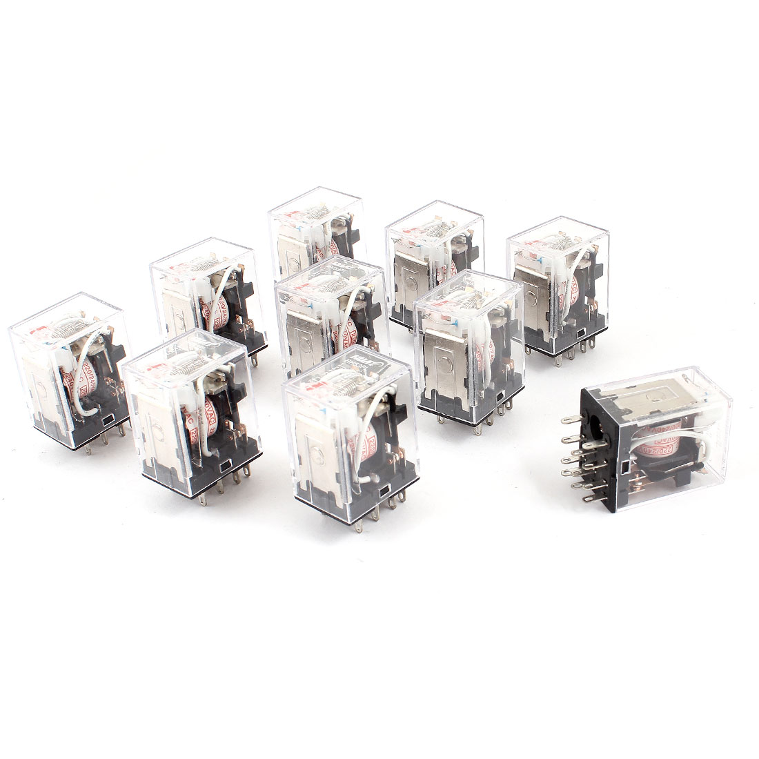 HH53PL AC 220/240V Coil 11-Pin 3PDT Red LED Indicator Light Power Relay 10 Pcs