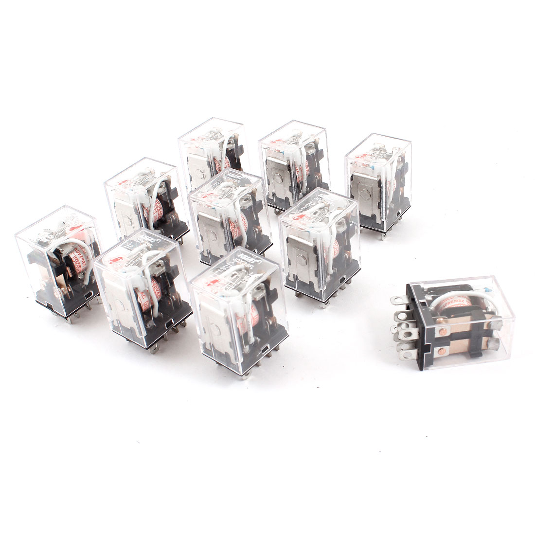 AC 220/240V Coil DPDT 8Pin Red LED Lamp General Purpose Power Relay 10 Pieces