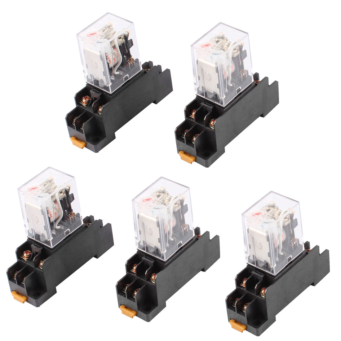 AC 36V Coil DPDT 8 Pin Red LED General Purpose Power Relay 5 Pcs w Socket