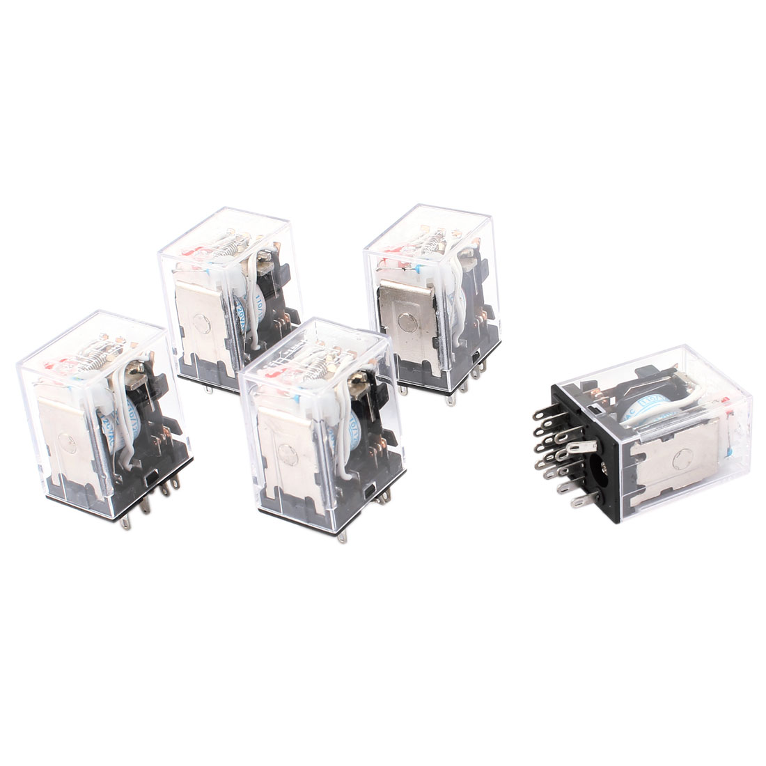HH54PL AC 110/120V Coil 14 Pins 4PDT Red LED Indicator Light Power Relay 5 Pcs