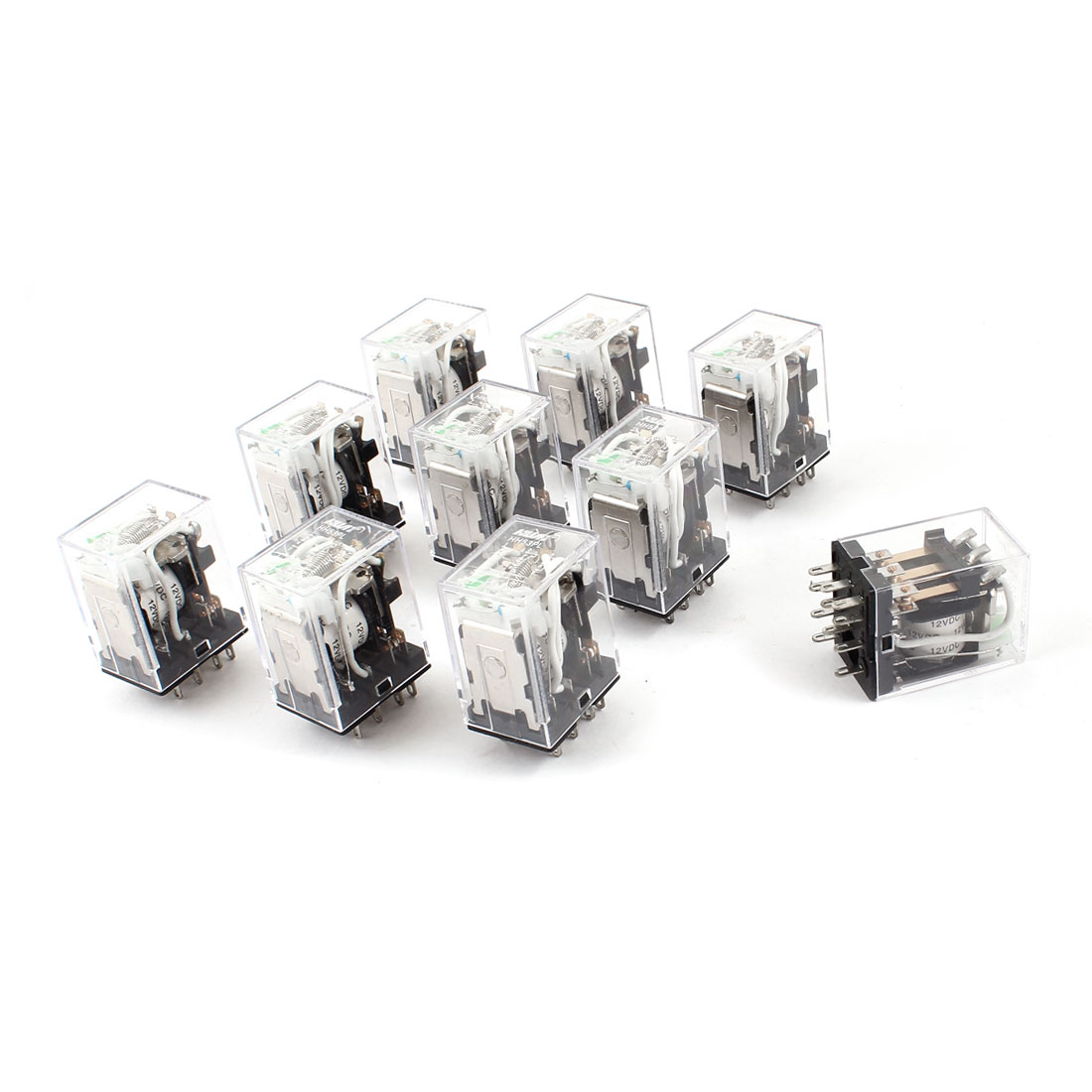 HH53PL DC 12V Coil 11 Pins 3PDT Green LED Light Electromagnetic Relay 10 Pcs