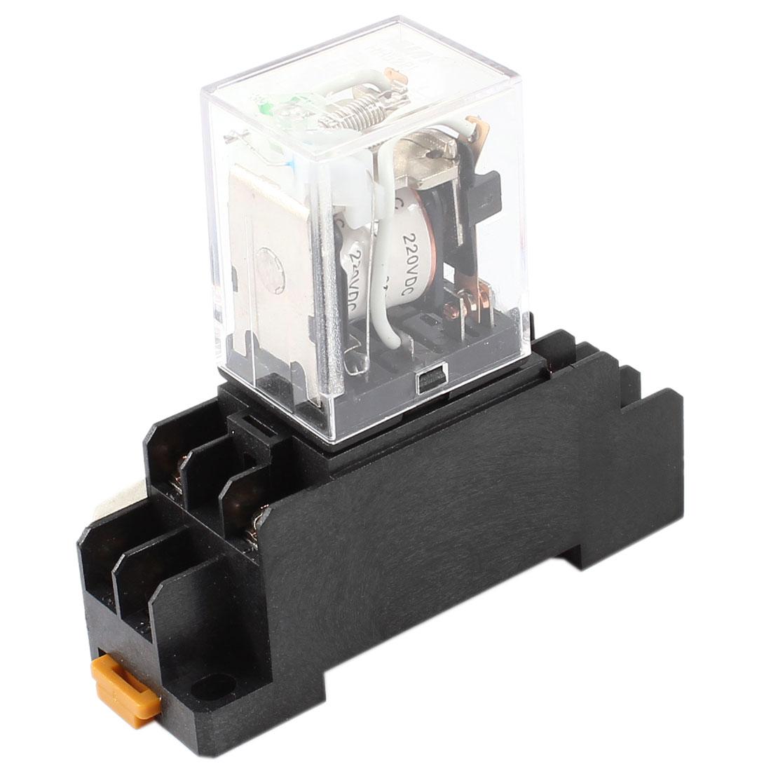 DC 220V Coil Green Indicator Light DPDT 8 Pins Power Relay + Socket Base