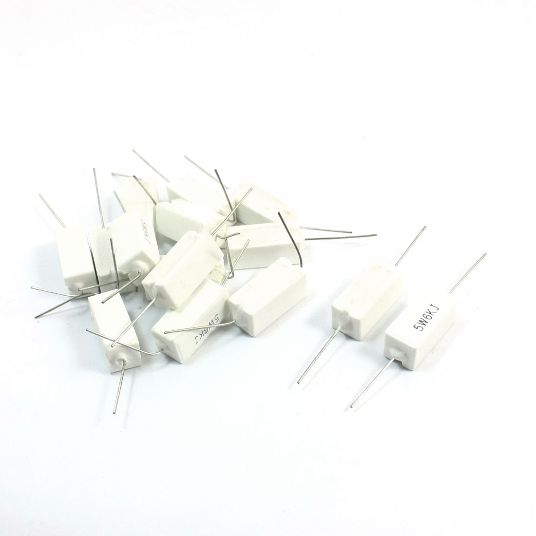 15pcs 6K Ohm 5% Radial Lead Rectangle Ceramic Cement Resistors 5W