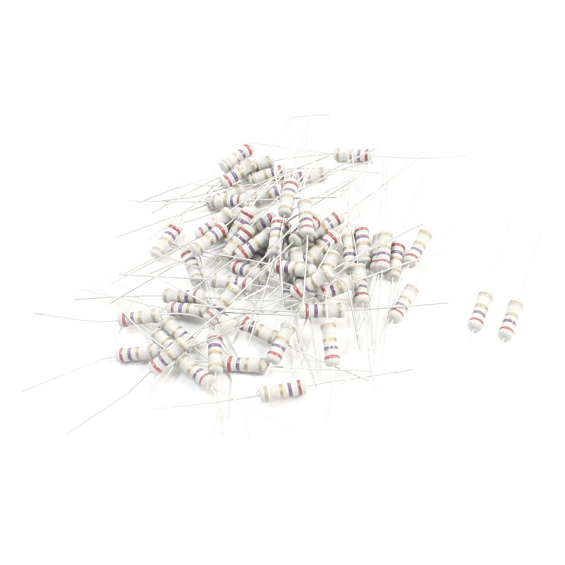 60Pcs 1W 2.7 Ohm Axial Lead Type PCB Surface Mounting Colored Ring Resistance Carbon Film Resistor 3.5mm x 11mm