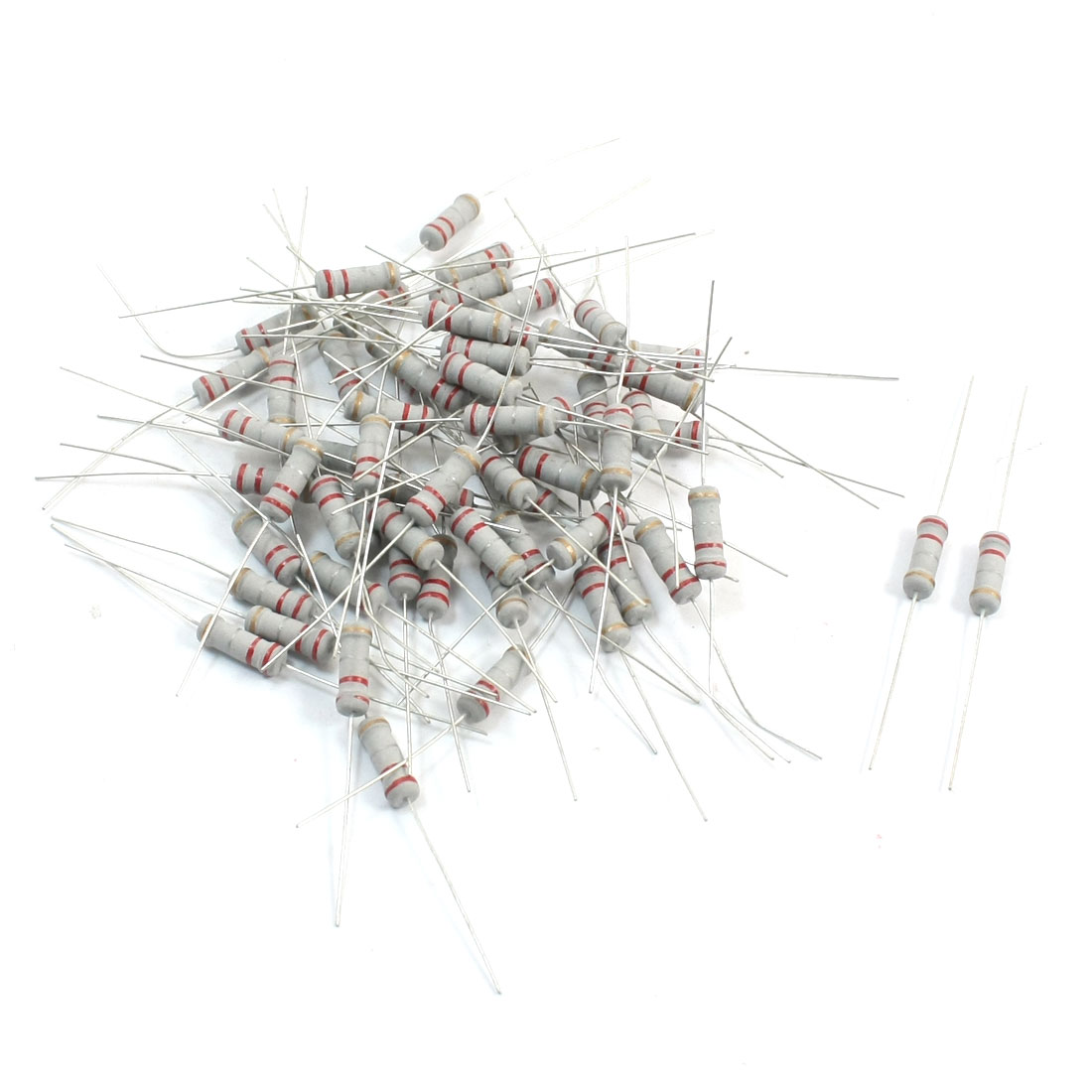 60Pcs 1W 0.22 Ohm 5% Tolerance Axial Lead Surface Mounting Colored Ring Carbon Film Resistors 3.5mm x 11mm