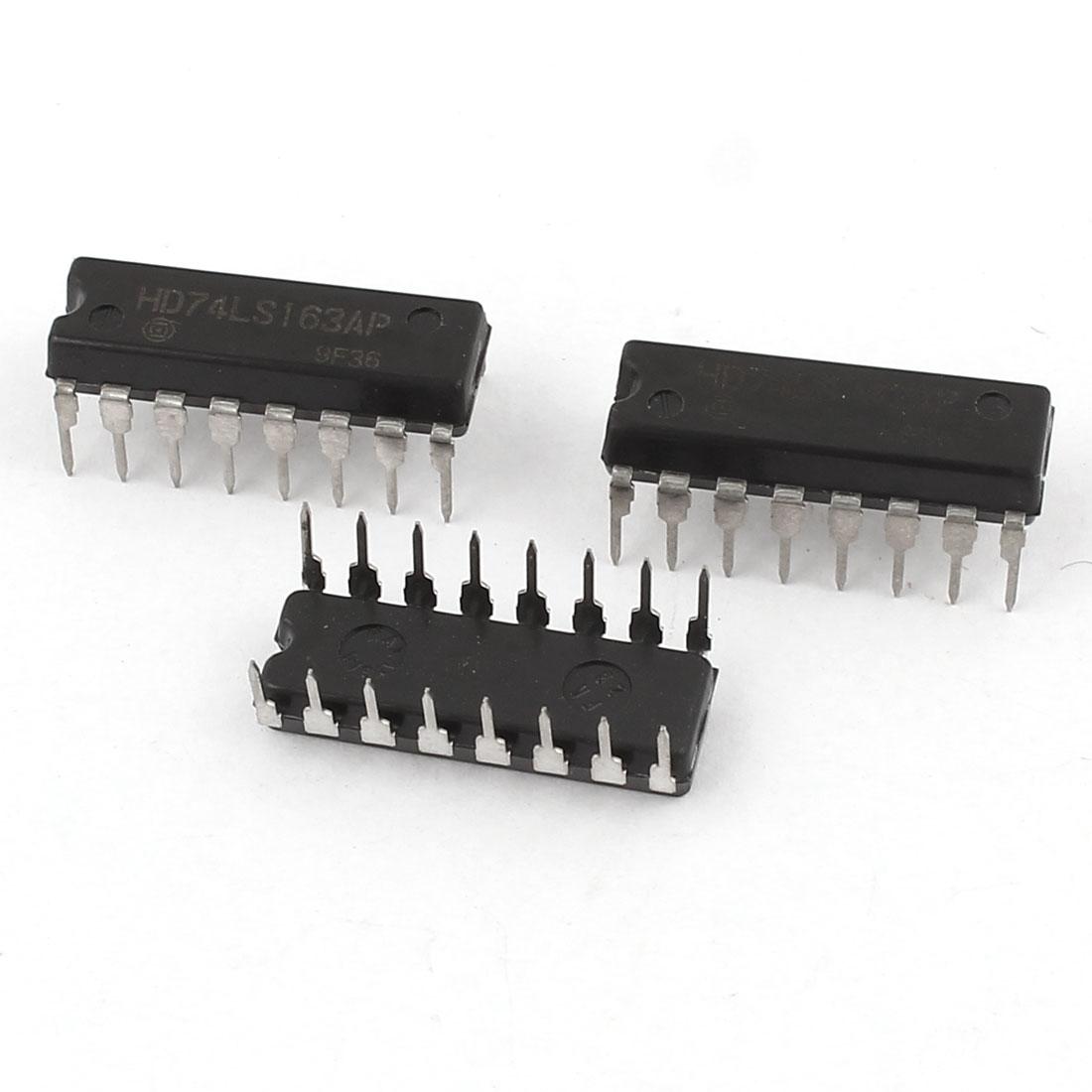 3pcs HD74LS163AP Synchronous 4-Bit Binary Counter DIP 16Pins IC