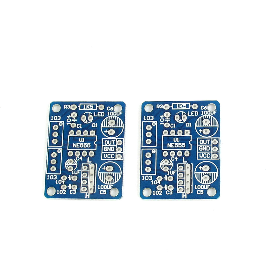 2Pcs Square Wave Output Adjustable Frequency NE555 Multivibrator Module Blank Board 36mm x 29mm