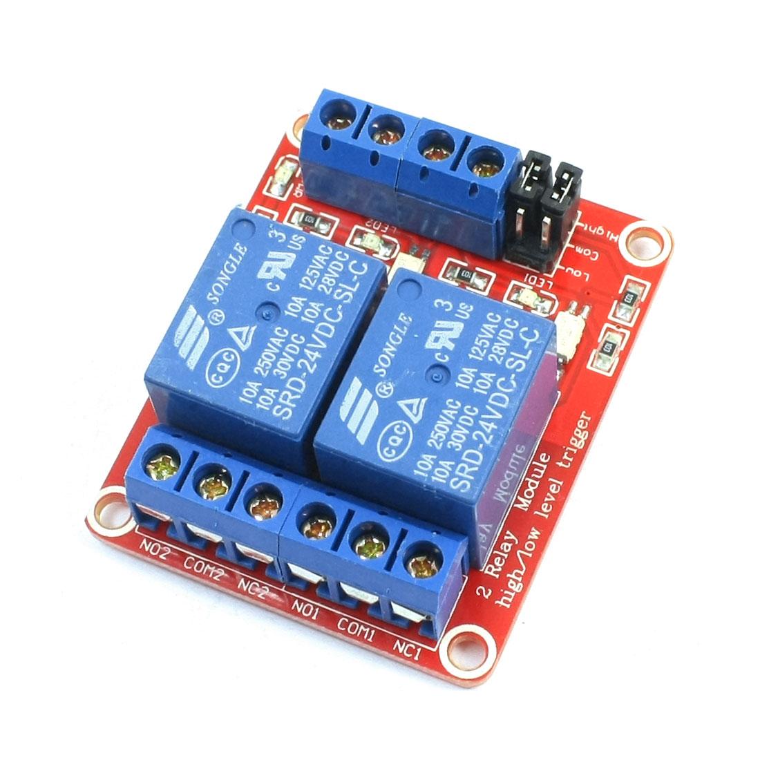 DIY Car Robot 2-Channel 2CH Optical Isolation Control Relay Module PCB Board DC 24V w Optocoupler