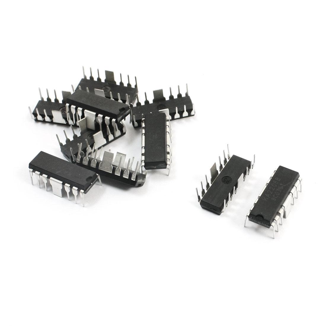 10Pcs KA2206B 2-channel DIP 14Pin Audio Stereo Bridge Power Amplifier