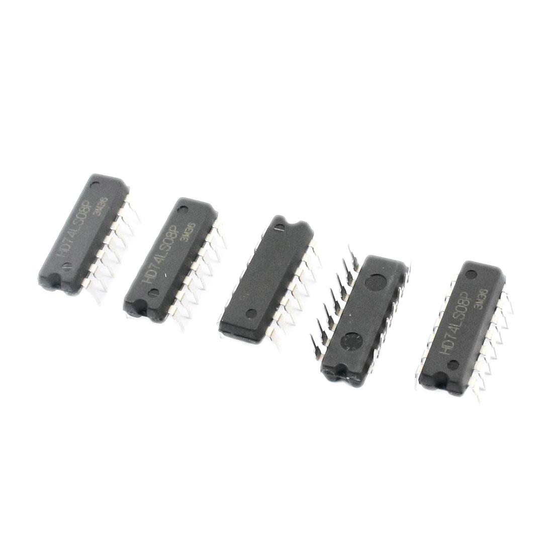 5Pcs 74LS08 DIP 14 Pins Quadruple 2-Input Positive AND Gates Semiconductor
