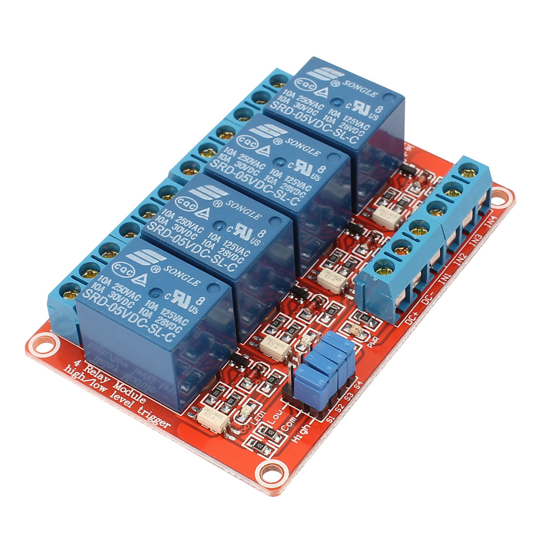 DC 24V 4-Channel 4CH High Low Level Trigger Optocoupler Shielded Isolation Relay Module Control Board
