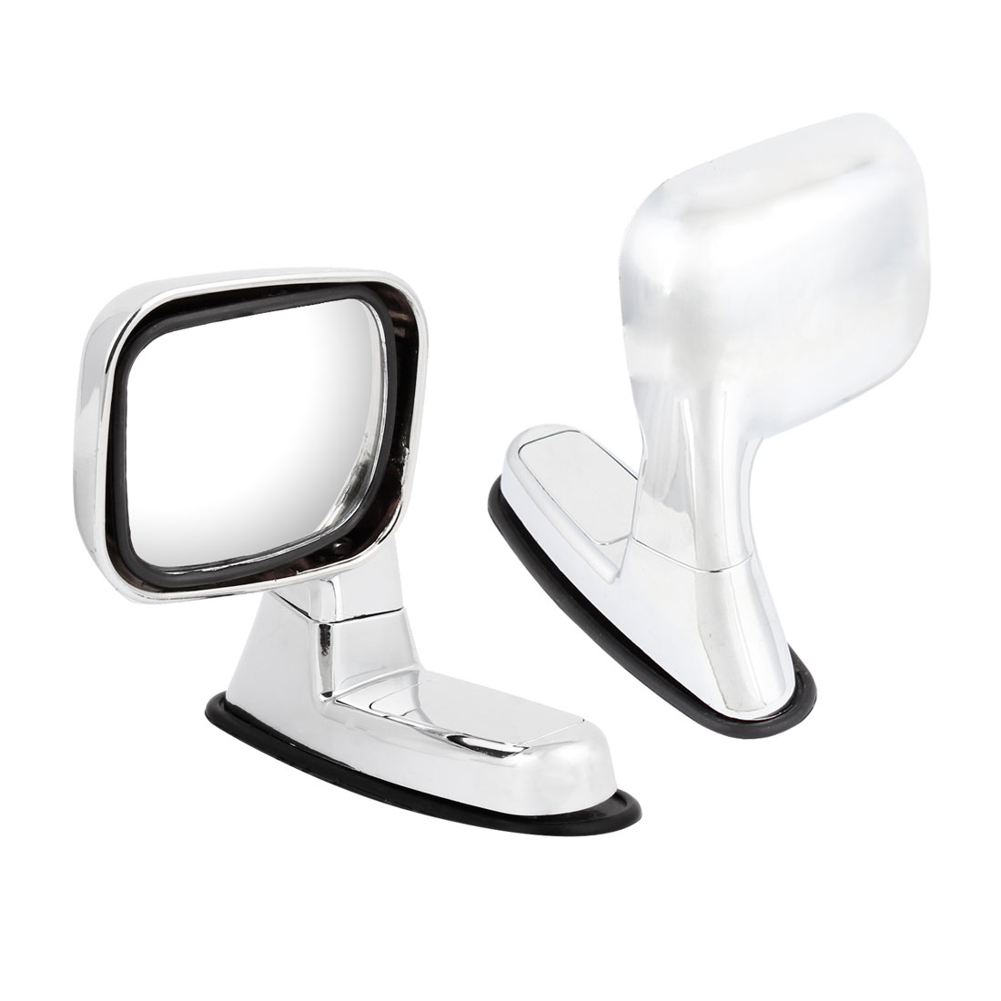 2 Pcs Silver Tone Rotatable Side Rearview Assistant Fender Mirror for Car Auto