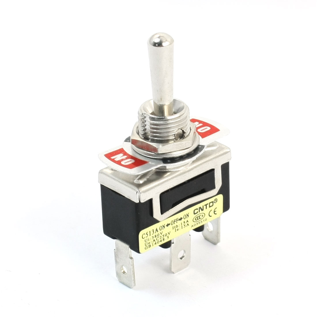 AC250V 15A ON/OFF/ON 3 Positions SPDT 12mm Mounting Dia Toggle Switch