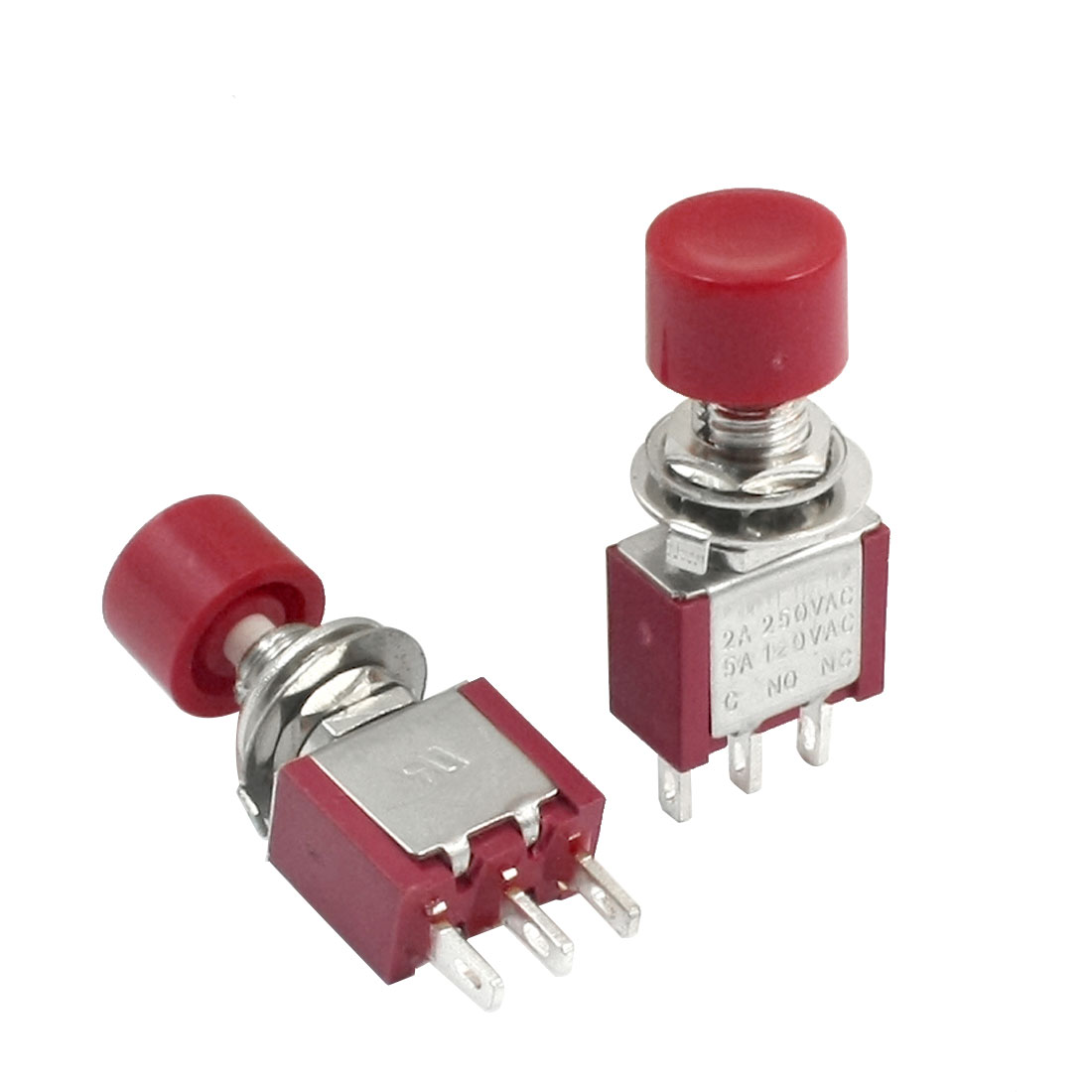 2pcs AC250V 2A 120V 5A 3Terminals 1P2T Red Cap Push Button Toggle Switch