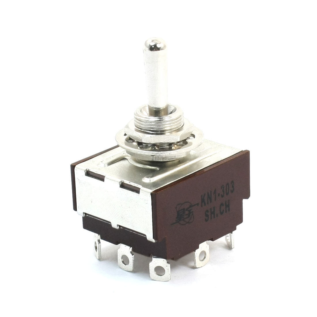 AC 250V 8A 12mm Mounting Hole Dia 3PDT ON/OFF/ON 9Pins Toggle Switch