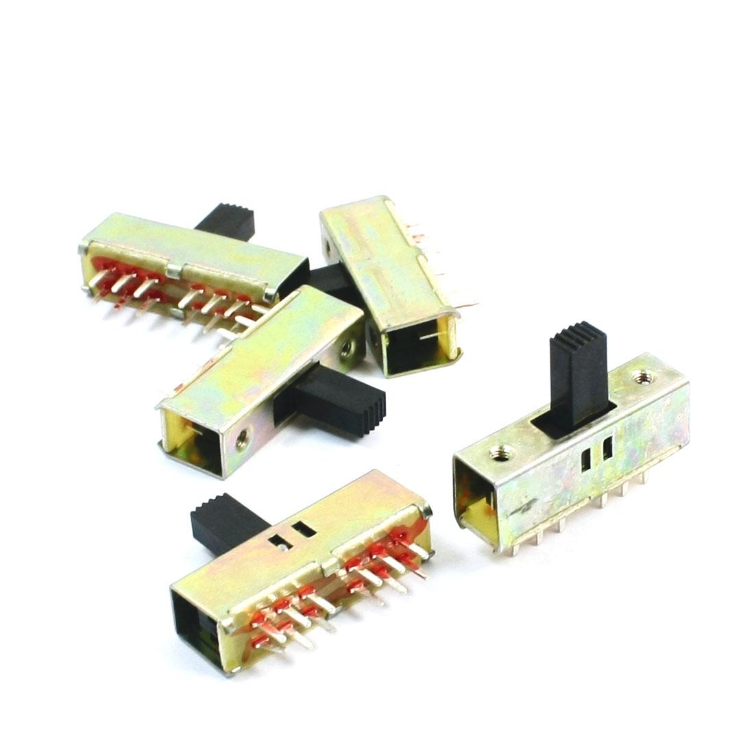 5Pcs 11mm High Side Knob 12Pin 2 Position 4PDT Slide Switch 0.5A AC50V