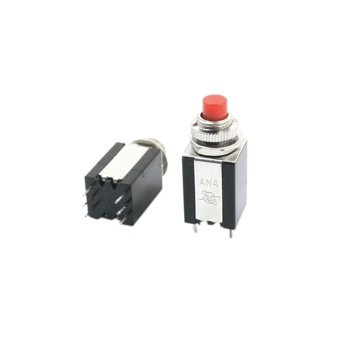 2Pcs AC250V 3A 8mm Mount Dia DPDT White Button Mini Toggle Switches