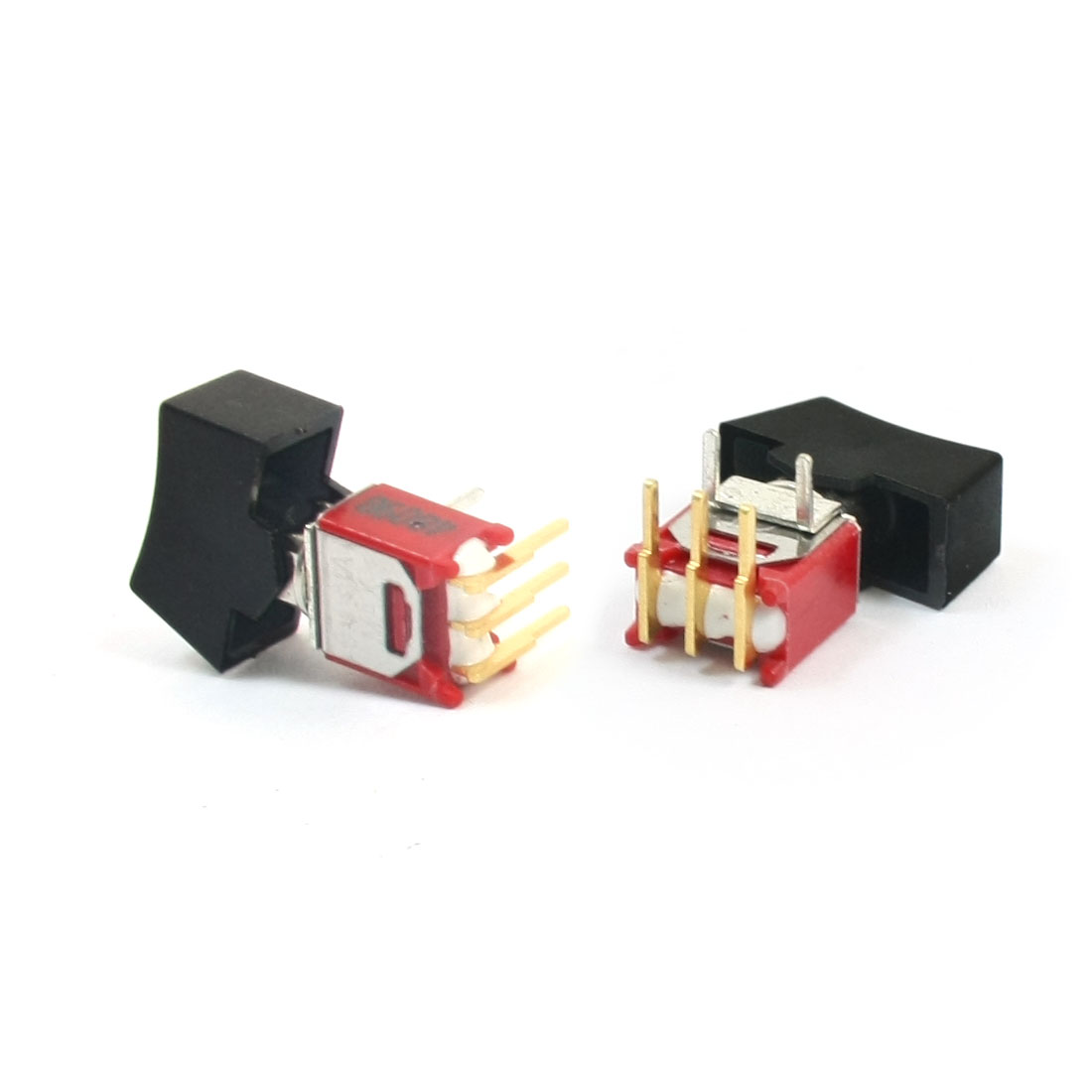 2Pcs 0.4VA 2 Position I/O 1P2T 3 Pole Toggle Switch w Black Cap