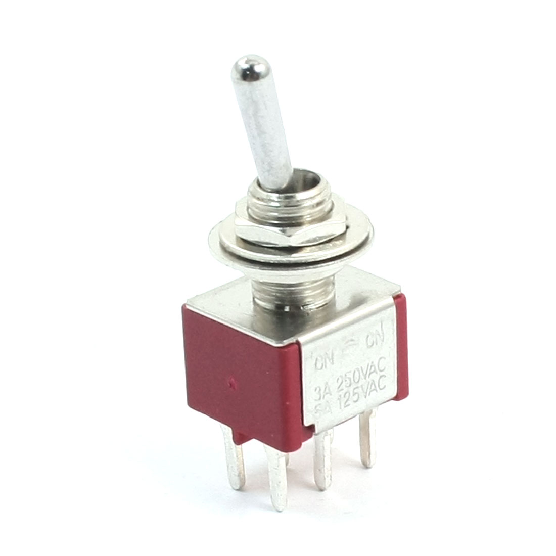 AC 250V 3A 125V 5A DPDT 2 Way 6mm Panel Cutout Dia Locking Toggle Switch