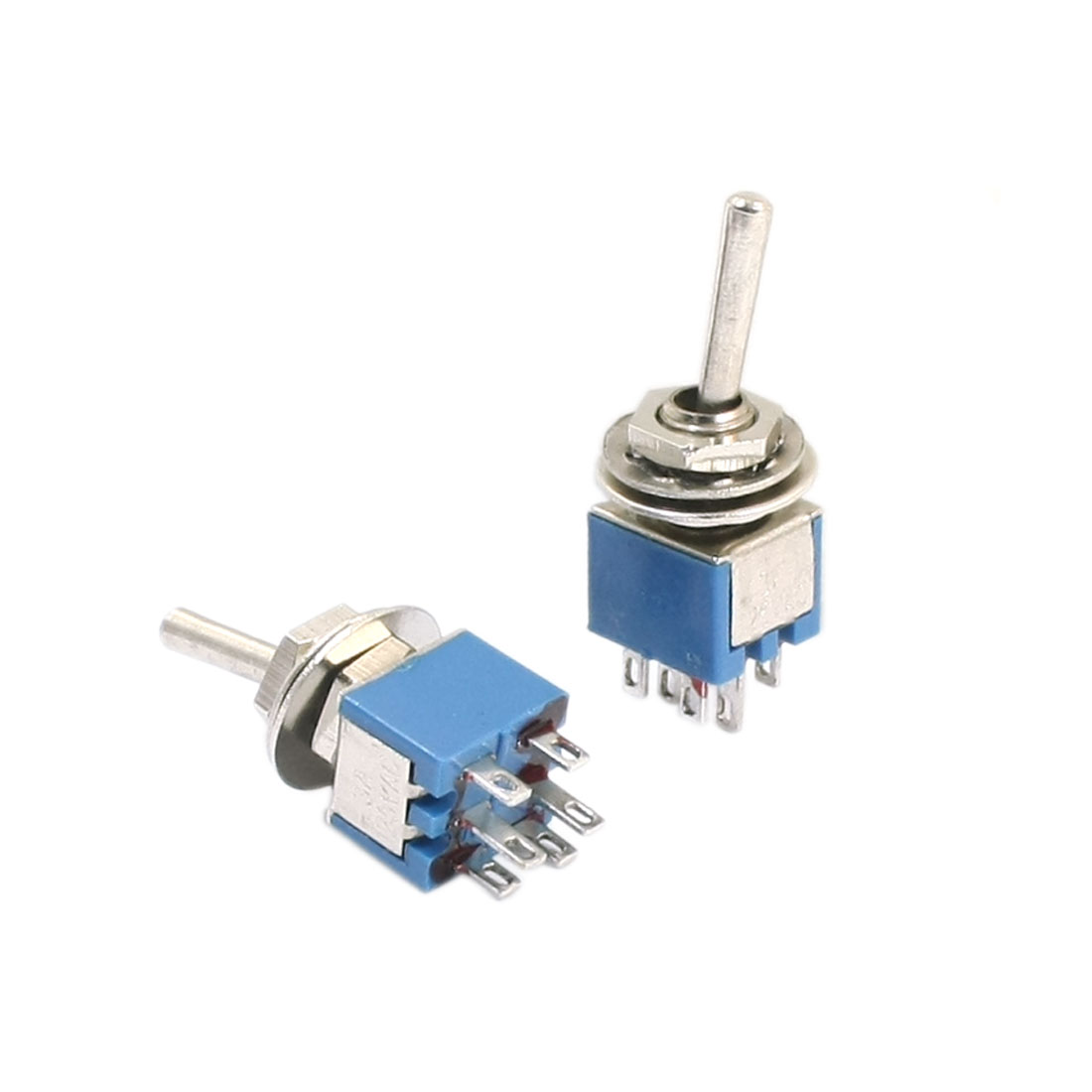 2PCS 6mm Panel Cutout Dia DPDT ON/ON Locking Toggle Switch AC 125V 3A