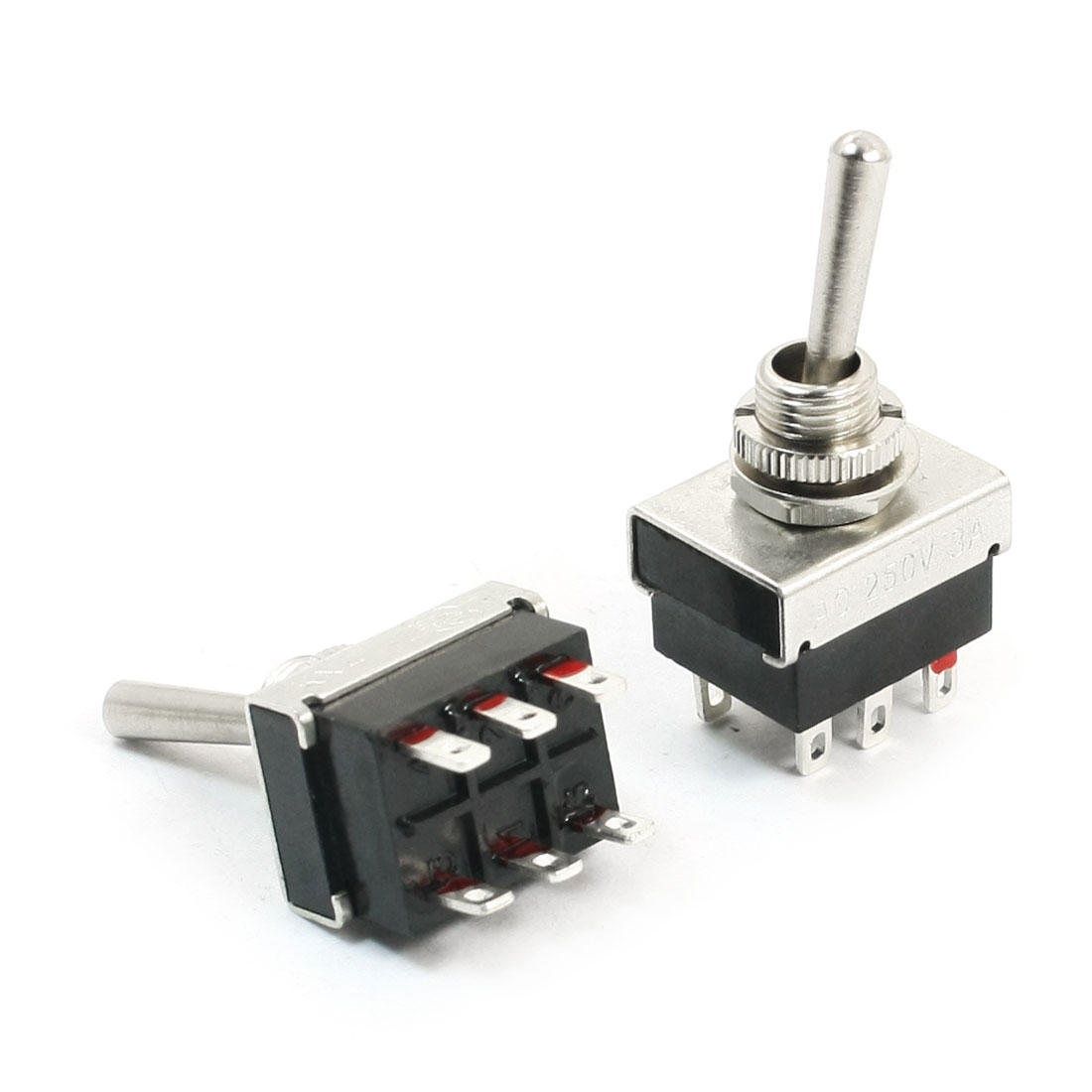 2pcs Switching Light Toggle Switch 2 Positions 6Pins DPDT AC 250V 3A