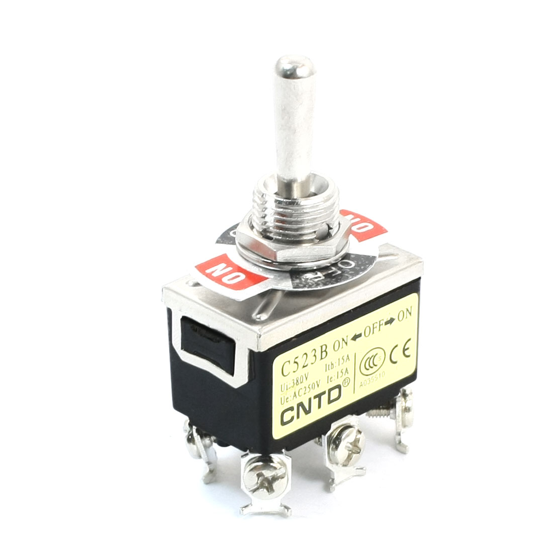 12mm Mounting 3 Position 6-Terminals DPDT Toggle Switch AC 250V 15A