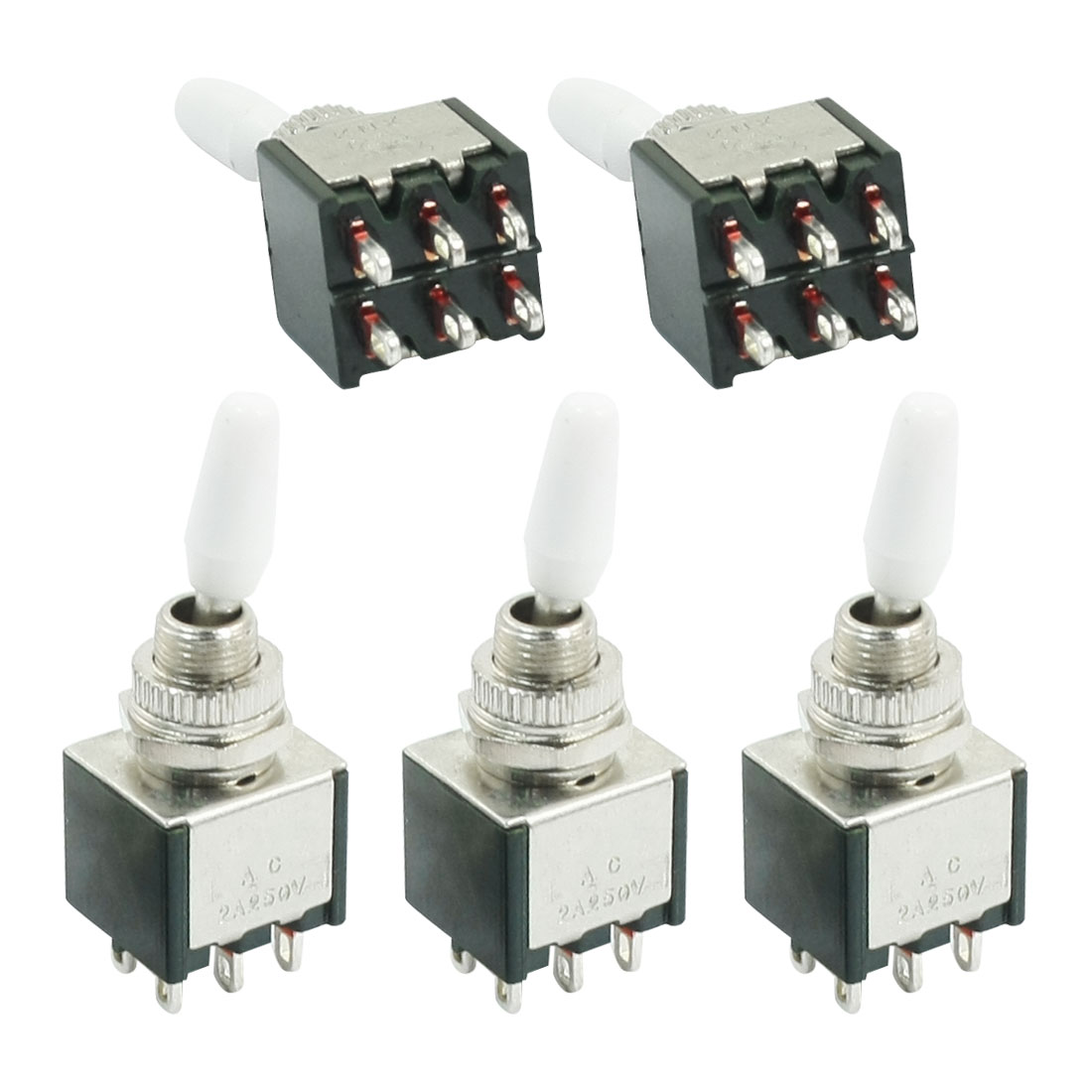 5Pcs 6mm Panel Cutout Dia 2 Position 2P2T Toggle Switch AC 250V 2A