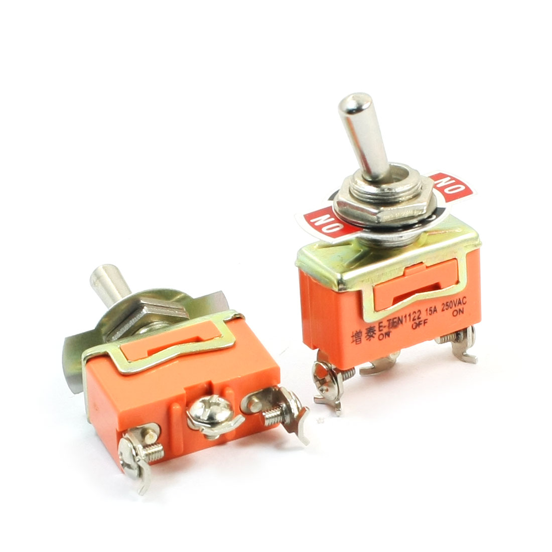 2PCS AC250V 15A 3 Positions SPDT Latching Toggle Switches Orange
