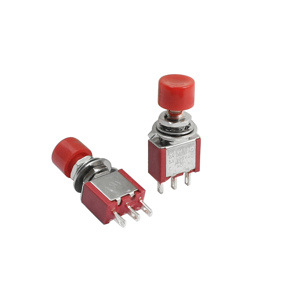 2PCS AC250V 2A 120V 6A 6mm Panel Mount Dia SPDT Momentary Red Toggle Switch