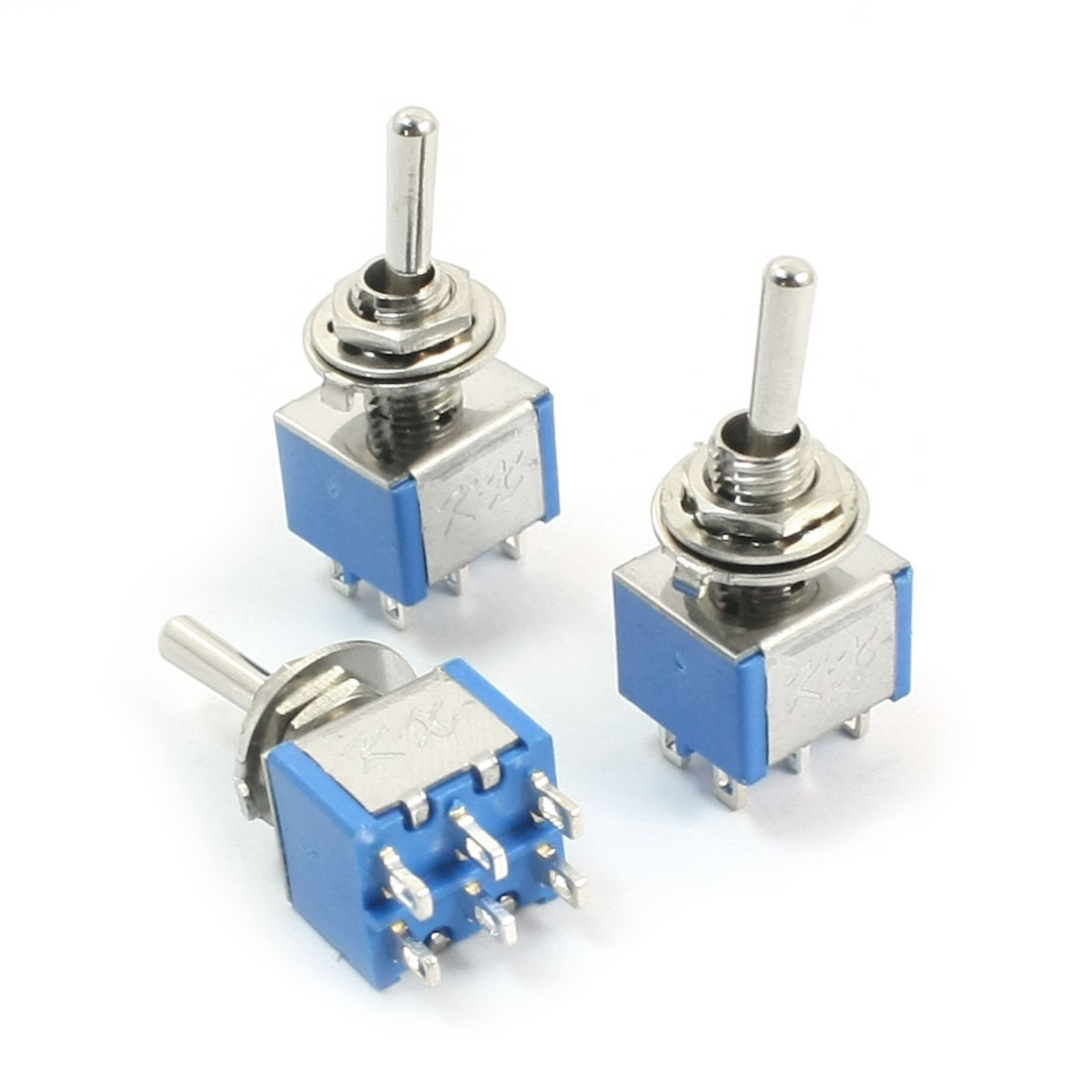 3Pcs 2 Positions DPDT AC250V/3A AC125V/5A 6mm Panel Mounting Dia