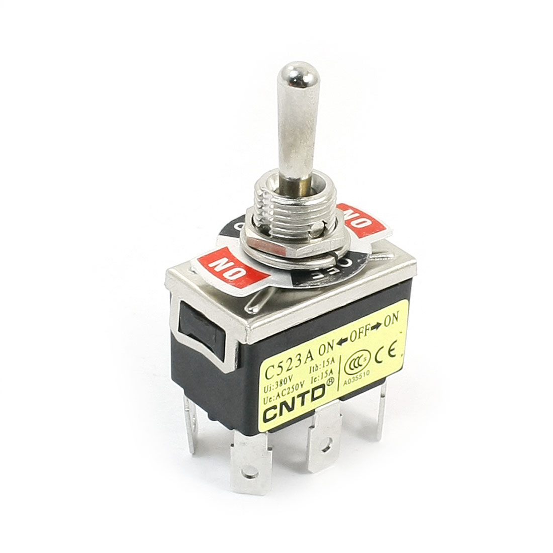 DPDT 3 Positions ON/OFF/ON 6-Terminals Toggle Switch Black AC250V 15A