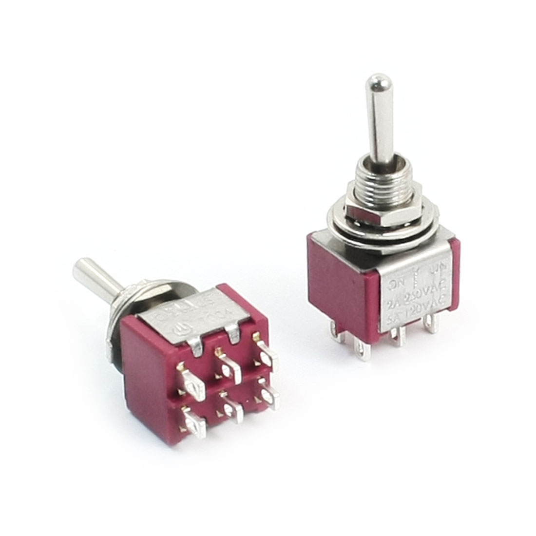2pcs Switching Light Toggle Switch 3 Positions 6Pins DPDT Momentary