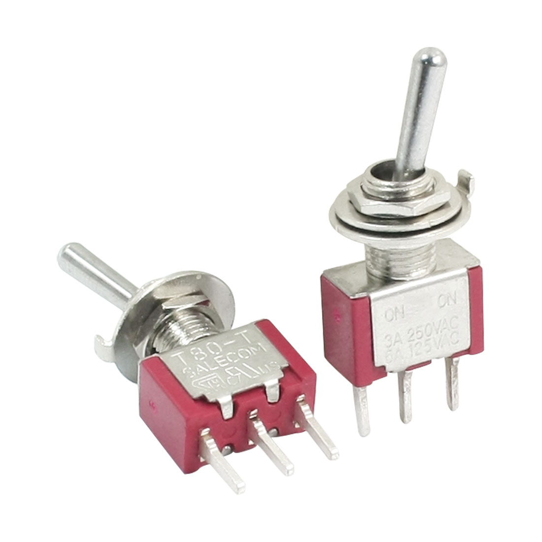 2PCS 6mm Mounting Hole Dia 2-Way SPDT Toggle Switches AC 250V/3A 125V/5A