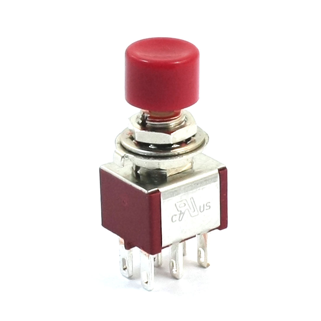 AC250V 2A 120V 5A 6Pin Terminals DPDT Momentary Red Pushbutton Switch